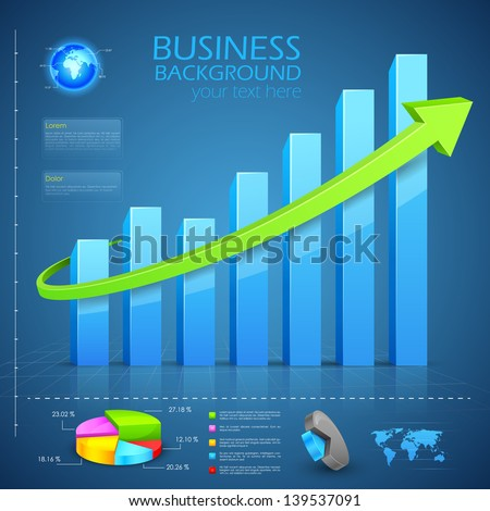 easy to edit vector illustration of Business Financial Graph Chart Diagram - stock vector
