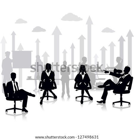 easy to edit vector illustration of business people in a meeting at office - stock vector