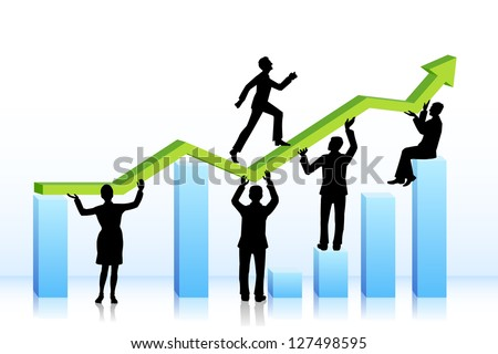 easy to edit vector illustration of business people walking on bar graph - stock vector