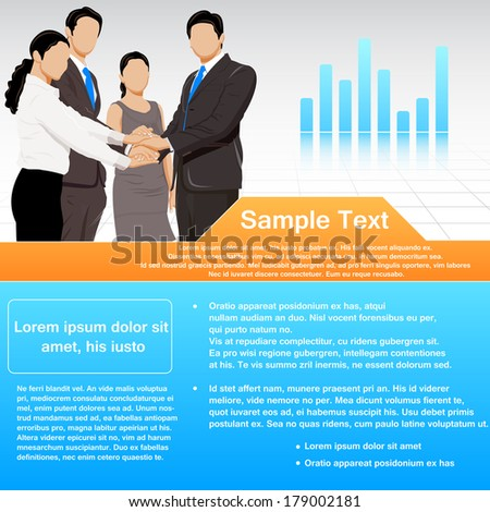 easy to edit vector illustration of business team making of pile of hands showing unity - stock vector