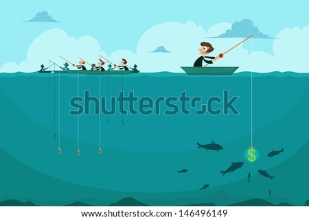 easy to edit vector illustration of businessman fishing dollar sitting in boat  - stock vector