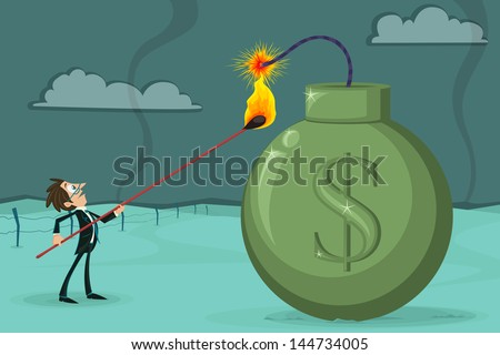 easy to edit vector illustration of businessman igniting dollar bomb - stock vector