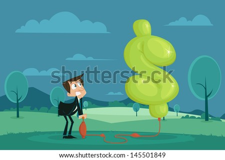 easy to edit vector illustration of businessman pumping air in dollar shape balloon - stock vector