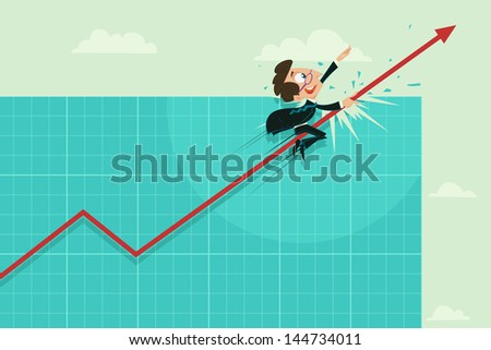 easy to edit vector illustration of businessman riding on profit arrow - stock vector