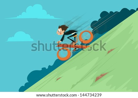easy to edit vector illustration of businessman riding percentage cycle