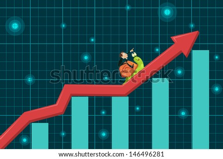 easy to edit vector illustration of businessman riding snail - stock vector