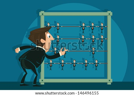 easy to edit vector illustration of businessman selecting employee from abacus - stock vector
