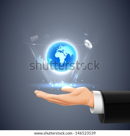easy to edit vector illustration of businessman showing Global communication - stock vector
