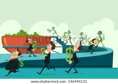 easy to edit vector illustration of businessmen gathering dollar - stock vector