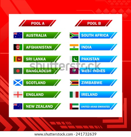 easy to edit vector illustration of chart of cricket participating countries 2015 - stock vector