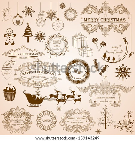easy to edit vector illustration of Christmas Calligraphic Decoration