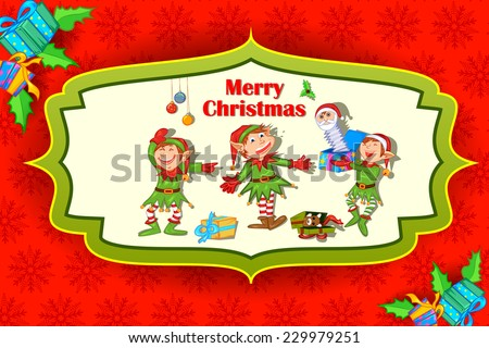 easy to edit vector illustration of  Christmas elf with gift - stock vector