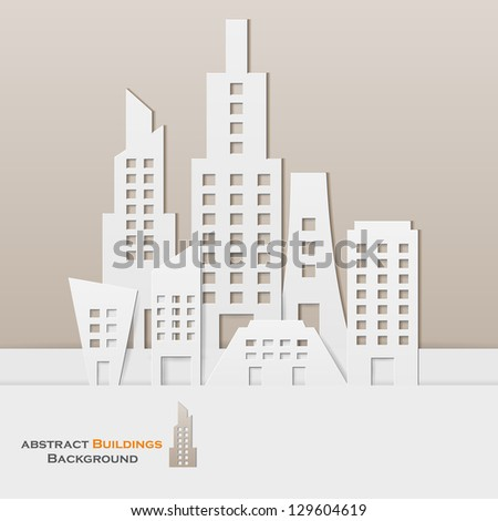 easy to edit vector illustration of cityscape made of paper - stock vector