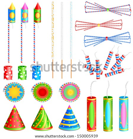 easy to edit vector illustration of colorful firecracker - stock vector