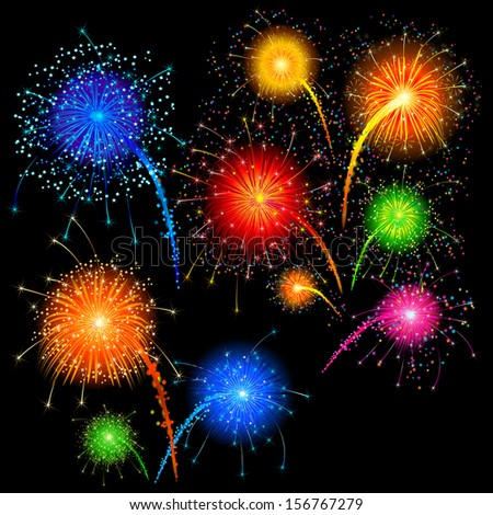 easy to edit vector illustration of colorful firework - stock vector
