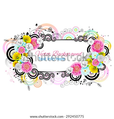 easy to edit vector illustration of colorful floral frame