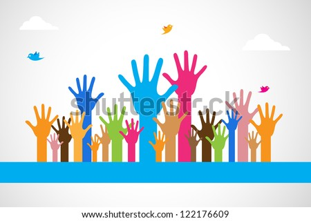 easy to edit vector illustration of colorful raised hand - stock vector