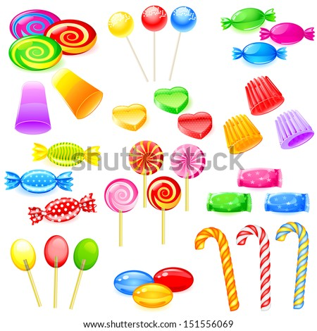 easy to edit vector illustration of colorful sweet candies - stock vector