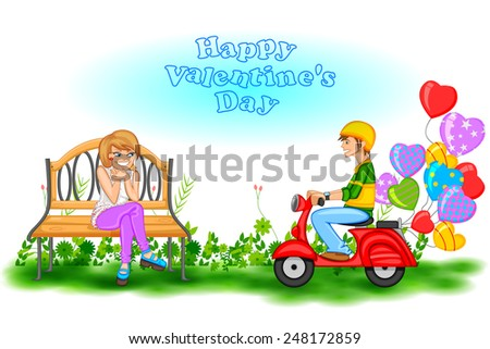 easy to edit vector illustration of couple in romantic pose for Happy Valentine's Day - stock vector