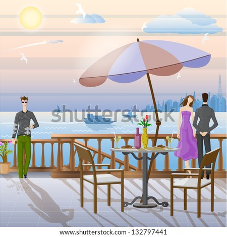 easy to edit vector illustration of couple in terrace in romantic mood - stock vector