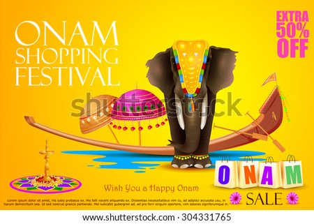 easy to edit vector illustration of decorated elephant for Happy Onam - stock vector