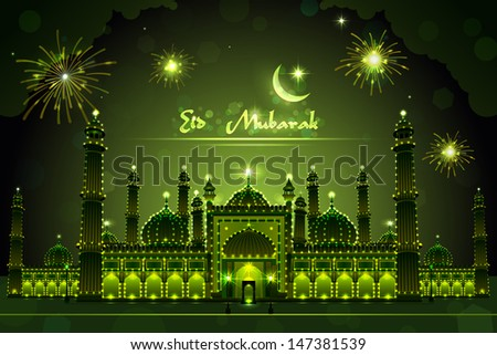 easy to edit vector illustration of decorated mosque on Eid Mubarak - stock vector