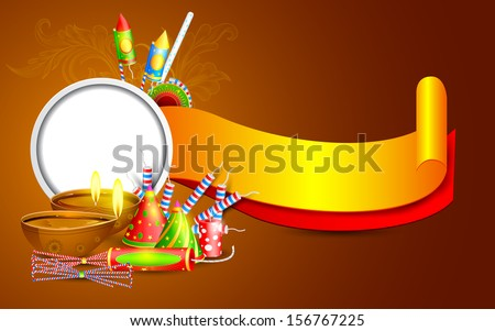 easy to edit vector illustration of Diwali banner with diya and firecracker - stock vector