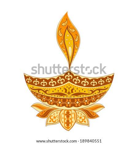 easy to edit vector illustration of Diwali diya  in floral design - stock vector