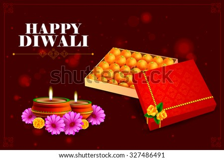 easy to edit vector illustration of diya with sweet for Happy Diwali background - stock vector