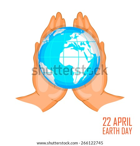 easy to edit vector illustration of Earth on hands showing conservation - stock vector