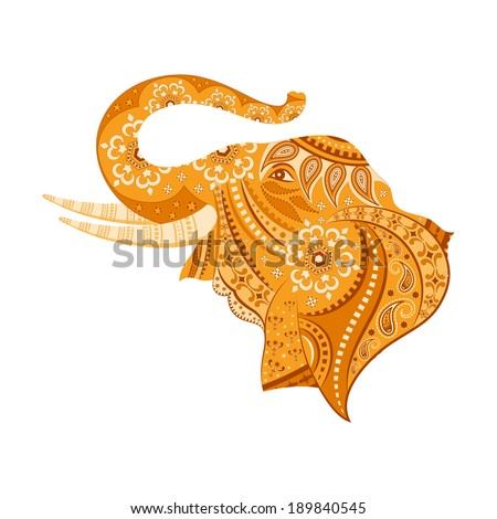 easy to edit vector illustration of elephant  in floral design - stock vector