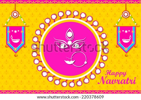 easy to edit vector illustration of face of Goddess Durga for Happy Navratri - stock vector