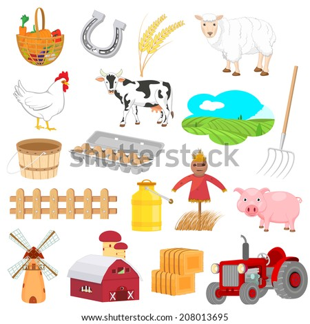 easy to edit vector illustration of farm objects - stock vector