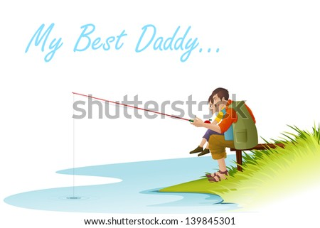 easy to edit vector illustration of father and son fishing on Father's Day - stock vector