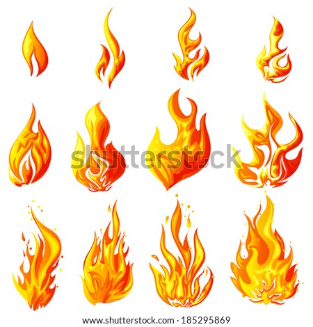 easy to edit vector illustration of fire flame collection - stock vector