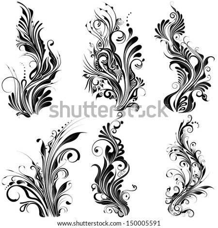 easy to edit vector illustration of floral calligraphic design - stock vector