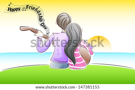 easy to edit vector illustration of friends playing friendship song - stock vector