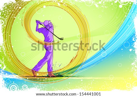 easy to edit vector illustration of golf player - stock vector