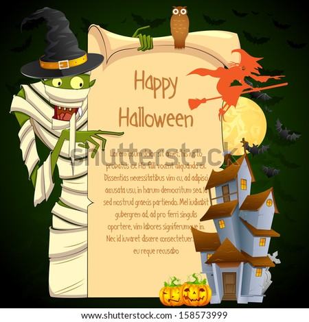 easy to edit vector illustration of Halloween Mummy pointing on blank space - stock vector