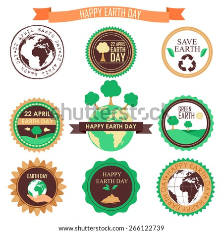 easy to edit vector illustration of Happy Earth Day - stock vector