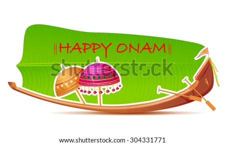 easy to edit vector illustration of Happy Onam Background - stock vector
