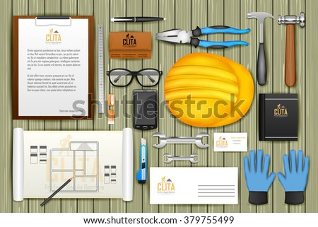 easy to edit vector illustration of identity branding mockup for architect - stock vector