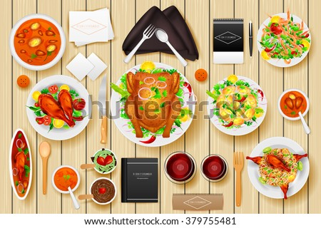 easy to edit vector illustration of identity branding mockup for dinner table - stock vector