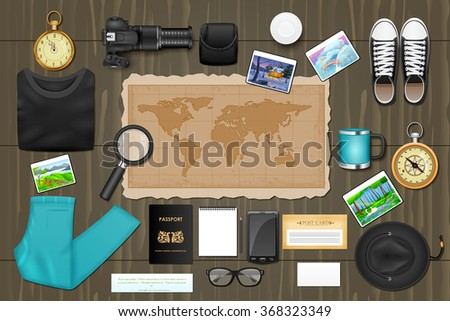 easy to edit vector illustration of identity branding mockup for traveling - stock vector