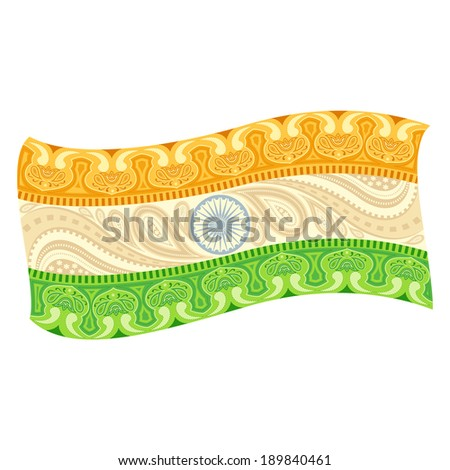 easy to edit vector illustration of Indian Flag in floral design - stock vector