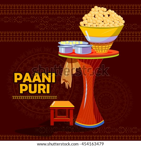 easy to edit vector illustration of Indian Panipuri or Gol Gappa representing street food of India - stock vector