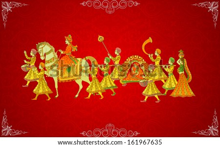 easy to edit vector illustration of Indian Wedding Card - stock vector
