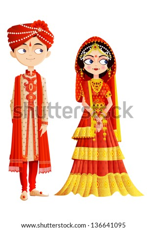 easy to edit vector illustration of Indian wedding couple - stock vector
