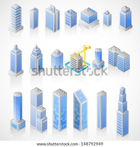 easy to edit vector illustration of isometric building icon - stock vector