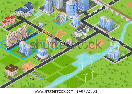 easy to edit vector illustration of isometric cityscape - stock vector